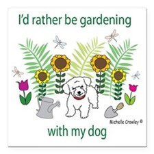 """gardening with my   -man Square Car Magnet 3"""" x 3"""""""