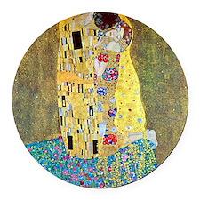 The Kiss by Gustav Klimt, Vintage Round Car Magnet