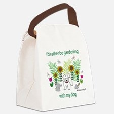 gardening with my   -many dog bre Canvas Lunch Bag