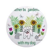 gardening with my   -many dog breed Round Ornament
