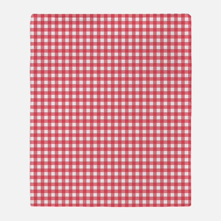 red and white gingham plaid pattern Throw Blanket