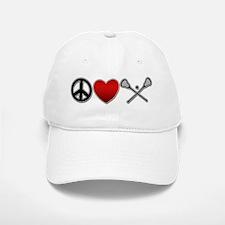 Peace Love Play Lacrosse Baseball Baseball Cap