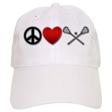 Peace Love Play Lacrosse Baseball Cap