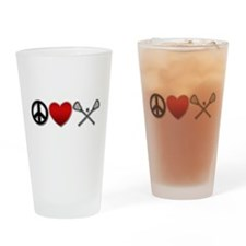 Peace Love Play Lacrosse Drinking Glass