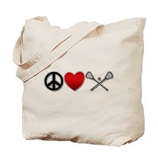 Peace Love Play Lacrosse Tote Bag