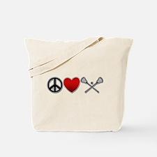Peace Love Play Lacrosse Tote Bag
