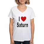 I Love Saturn (Front) Women's V-Neck T-Shirt
