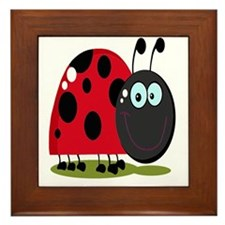 cute silly happy smiling ladybug Framed Tile
