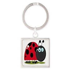 cute silly happy smiling ladybug Square Keychain