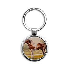 Painted Stallion Round Keychain