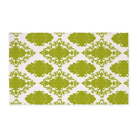 Elegant Sage Green And White Damask 3 X5 Area Rug By