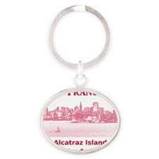 SanFrancisco_12X12_AlcatrazIsland_Re Oval Keychain