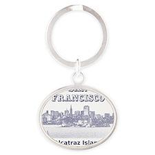 SanFrancisco_10x10_v4_AlcatrazIsland Oval Keychain