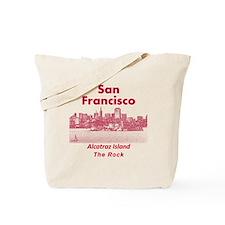 SanFrancisco_10x10_v1_AlcatrazIsland_Red Tote Bag