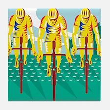 Cyclist Riding Bicycle Cycling Retro Tile Coaster