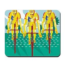Cyclist Riding Bicycle Cycling Retro Mousepad