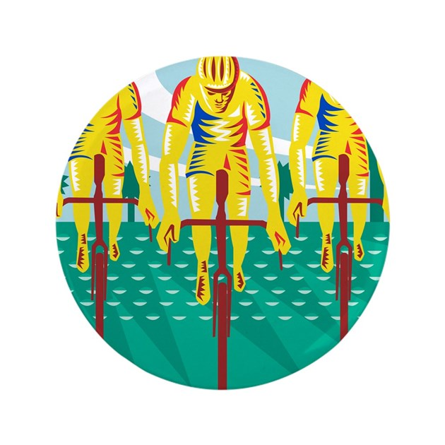 "Cyclist Riding Bicycle Cycling Retro 3.5"" Button by Admin ..."