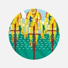 "Cyclist Riding Bicycle Cycling Retro 3.5"" Button"