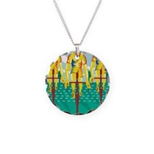 Cyclist Riding Bicycle Cycli Necklace