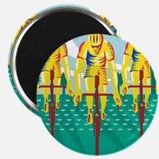 Cyclist Riding Bicycle Cycling Retro Magnet