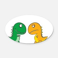 Cute Dinosaurs Oval Car Magnet