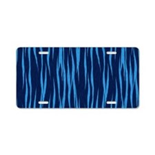 Blue Big Cat Fur Aluminum License Plate