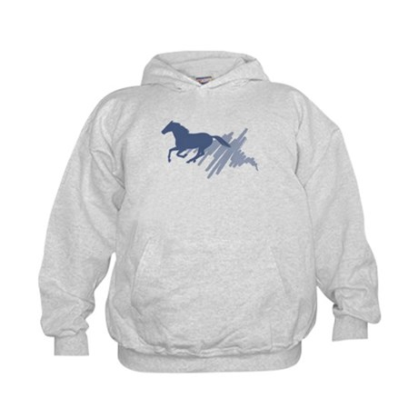 Wild horse gallop, art brush. Kids Hoodie