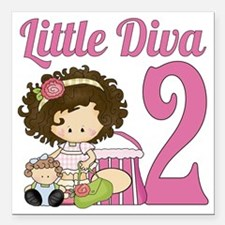 "Little Diva is 2 Square Car Magnet 3"" x 3"""