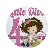Little Diva is 4 Round Ornament