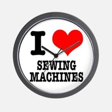 I Heart (Love) Sewing Machines Wall Clock