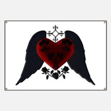Black Winged Goth Heart Banner