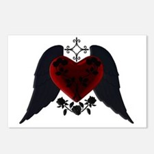 Black Winged Goth Heart Postcards (Package of 8)