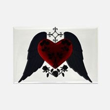 Black Winged Goth Heart Rectangle Magnet