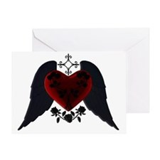 Black Winged Goth Heart Greeting Card
