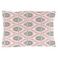 pink grey cream elegant damask Pillow Case