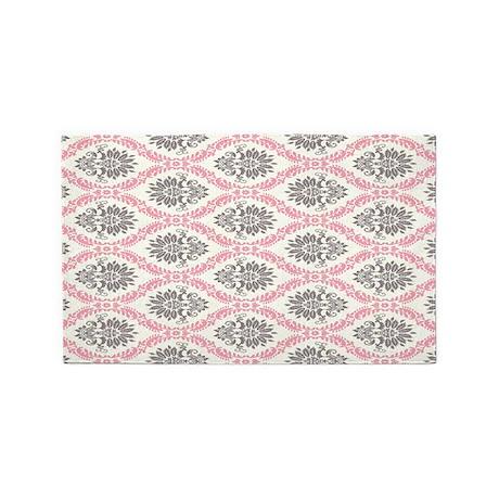 pink grey cream elegant damask 3 39 x5 39 area rug by admin. Black Bedroom Furniture Sets. Home Design Ideas