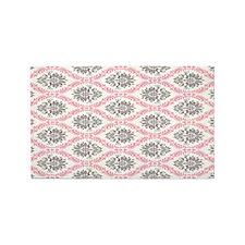 pink grey cream elegant damask 3'x5' Area Rug