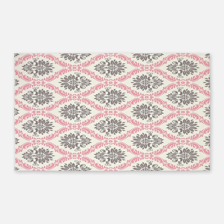 pink grey cream elegant damask 3'x5' Area Rug