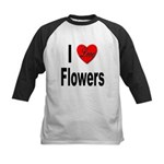 I Love Flowers (Front) Kids Baseball Jersey