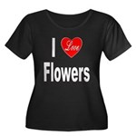 I Love Flowers (Front) Women's Plus Size Scoop Nec