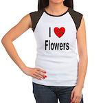 I Love Flowers (Front) Women's Cap Sleeve T-Shirt