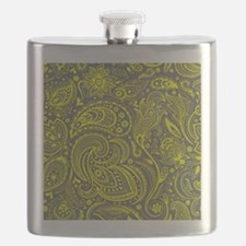 Yellow And Gray Vintage Floral Paisley Flask