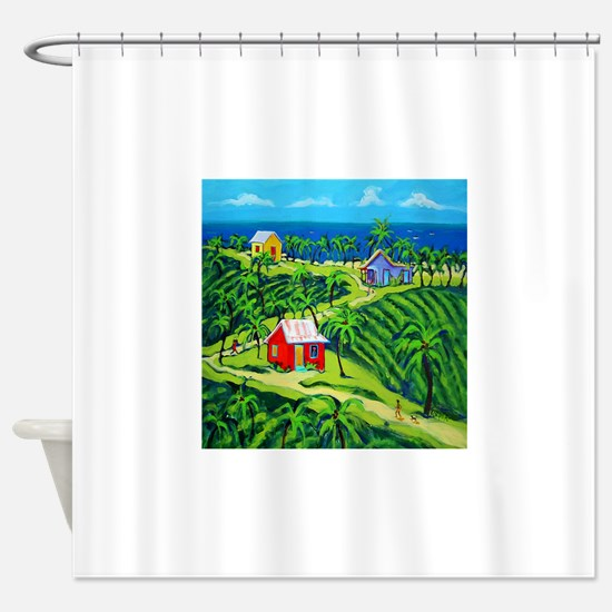 Caribbean Tropical Folk Art Shower Curtain