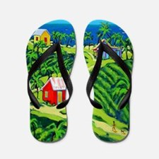 Caribbean Tropical Folk Art Flip Flops