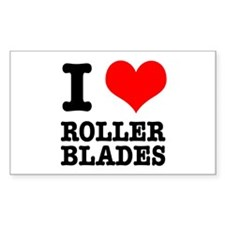 I Heart (Love) Roller Blades Rectangle Decal