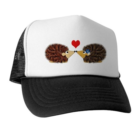 Cuddley Hedgehog Couple with Heart Trucker Hat