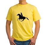 Horse Rider. Sexy Woman Yellow T-Shirt