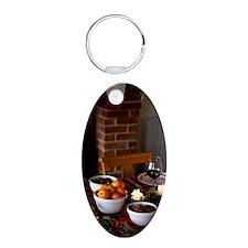 Dinner At Christmas Aluminum Oval Keychain