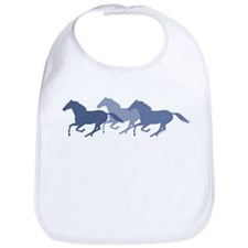 Blue Galloping Horses Bib