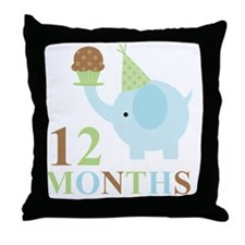 12 Months Baby Elephant Throw Pillow